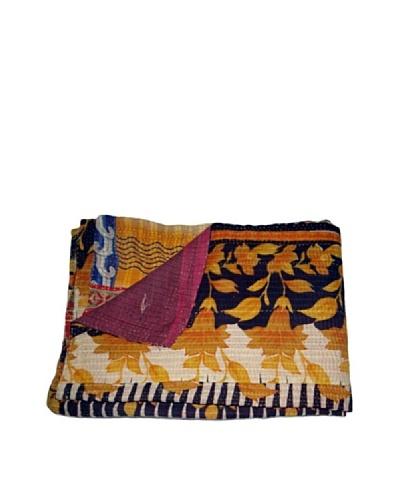 Vintage Pushpa Kantha Throw, Multi, 60 x 90