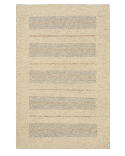 Hand Woven Natural Plush Wool Flatweave Kilim, Cream, 4' x 6'