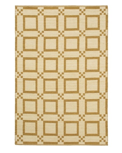 Handwoven Natural Plush Modern Wool Kilim, Cream/Dark Gold, 5' 1 x 7' 7
