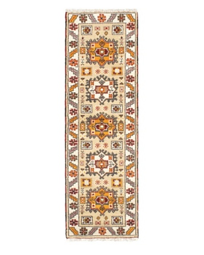 Hand-Knotted Royal Kazak Wool Rug, Cream, Khaki, 2' 1 x 6' 7 Runner