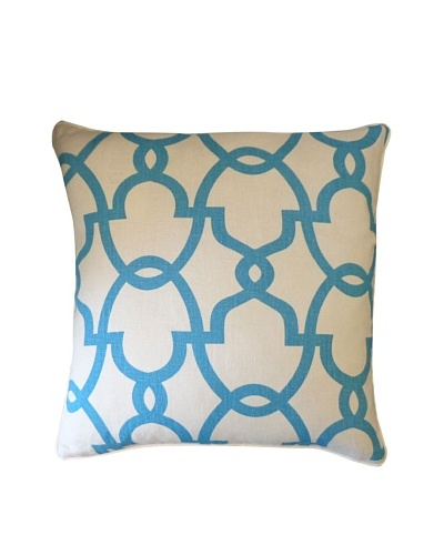 Dean Throw Pillow, Cream/Turquoise