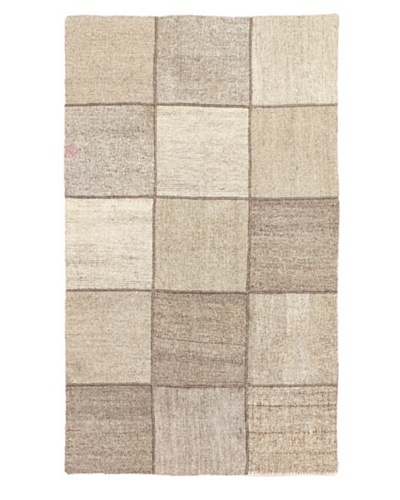 Hand Woven Moldovia Mod Patch Flatweave Kilim, Cream, 3' 10 x 6' 6