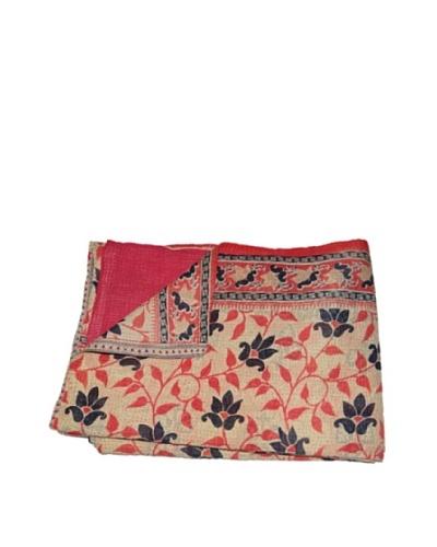 """Large Vintage Gowri Kantha Throw, Multi, 60"""" x 90"""""""