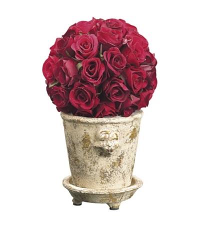 Velvet Rose Ball In Lion Head Pot, Burgundy/Red
