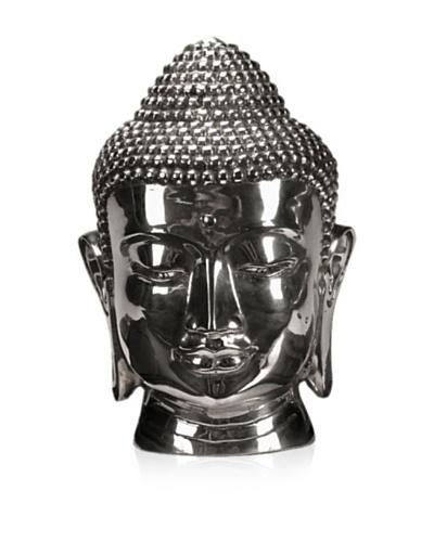Buddha Head Sculpture, Silver