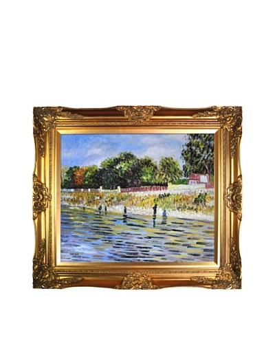 Vincent Van Gogh The Banks of the Seine Framed Oil Painting