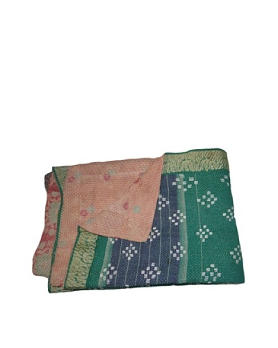 Vintage Pushpa Kantha Throw, Multi, 60 x 90