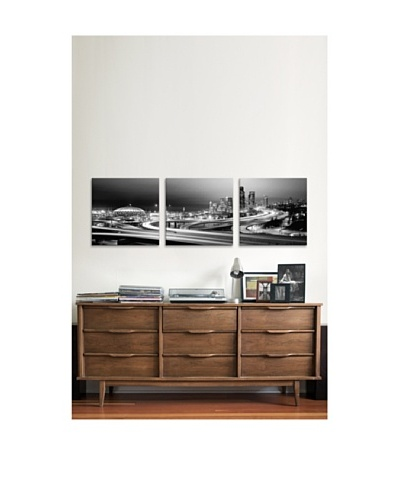 Seattle Streets Panoramic Giclée Canvas Print Triptych