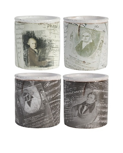 Set Of 4 Famous Composers Candles [Black/White]
