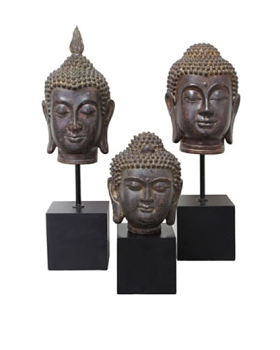 Set of 3 Buddha Head Sculptures, Brown/Black