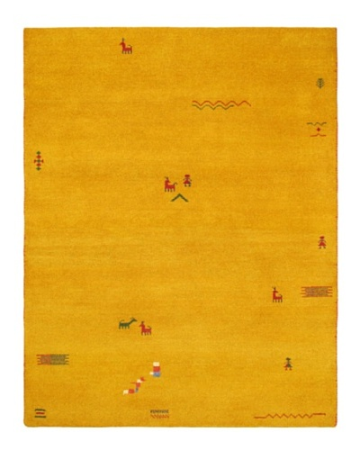 Hand-Knotted Gabbeh Modern Rug, Gold, 6' 2 x 7' 1