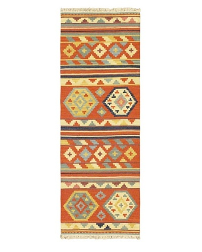 Hand Woven Izmir Wool Kilim, Dark Copper, 2' 4 x 6' 5 Runner