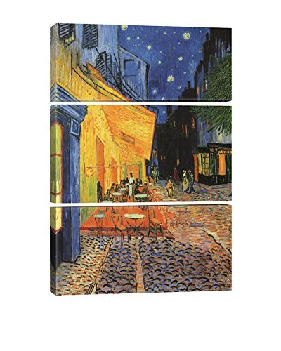 Vincent Van Gogh The Cafe Terrace On The Place Du Forum, Arles, At Night 1888 3-Piece Canvas Print
