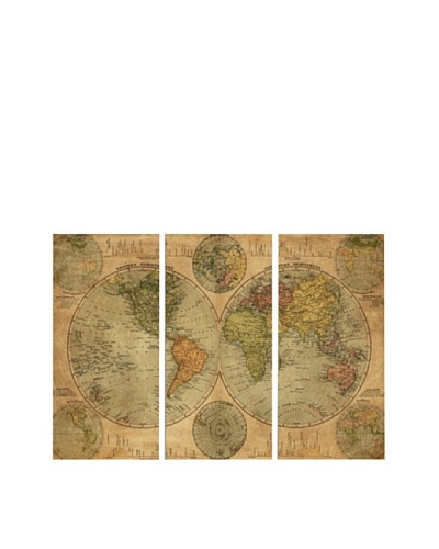 Oliver Gal Hemispheres Map 1891 Triptych Canvas Art