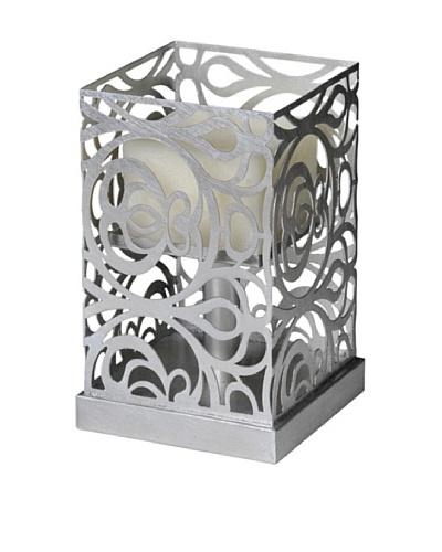 Caged Candle Holder, Silver Leaf