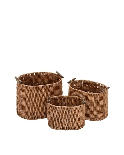 Set of 3 Rattan Baskets, Brown