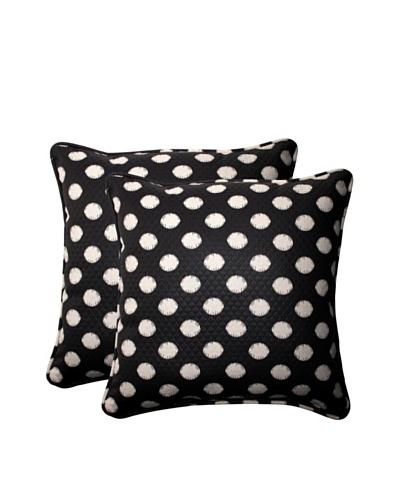 Set of 2 Outdoor Solar Spot Ebony Square Corded Toss Pillows [Black/Cream]