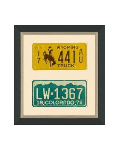 Framed Vintage Wyoming & Colorado License Plates