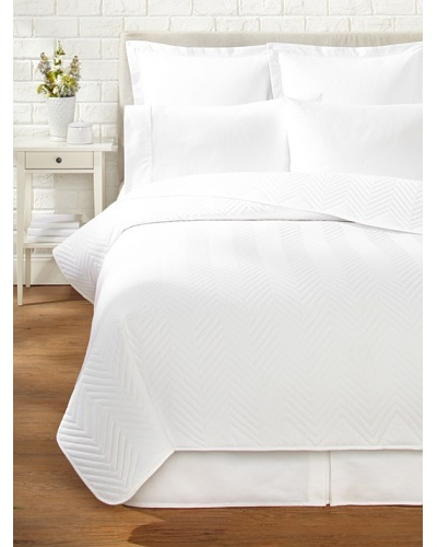 Percale Quilted Coverlet, White, Queen