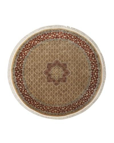 """Hand-Knotted Tabriz Oriental Rug, Dark Copper/Light Khaki, 8' x 8' 4"""" Round"""
