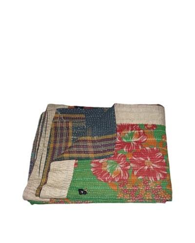 """Large Vintage Pushpa Kantha Throw, Multi, 60"""" x 90"""""""