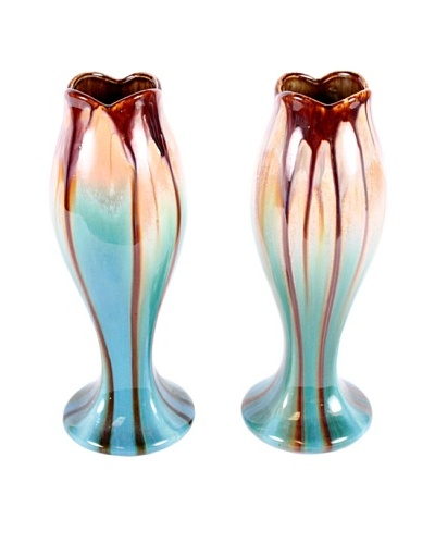 Pair of Belgium Vases, Blue/Brown/White