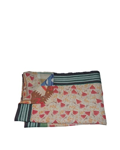 Large Vintage Gowri Kantha Throw, Multi, 60 x 90