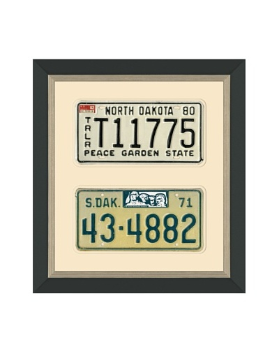 Framed Vintage North Dakota & South Dakota License Plates