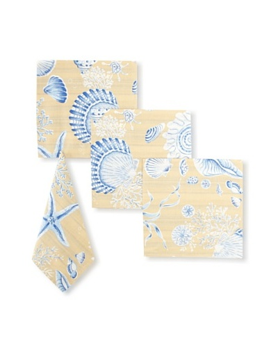 "Set of 4 Seashells Napkins, Tan/Blue, 17"" x 17"""