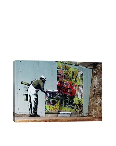 Banksy Graffiti Wallpaper Hanging Canvas Print