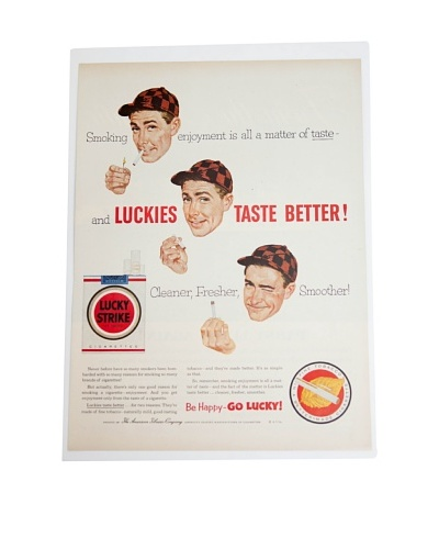 Vintage Circa 1950 Lucky Strike Cigarettes Ad
