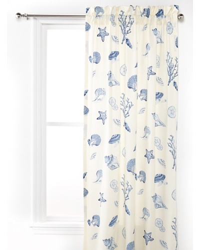 Oceana Drapery Panel, White/Blue, 50 x 84