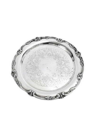 Vintage Baroque Round Silver Serving Tray, c.1930s