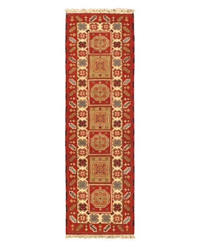 Hand-knotted Royal Kazak Traditional Runner Wool Rug, Red, 2' x 6' 8 Runner