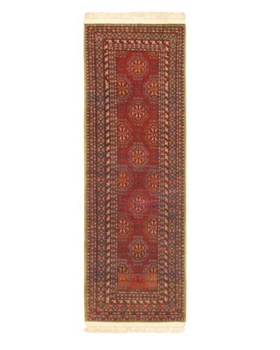 Hand-knotted Keisari Traditional Runner Wool Rug, Red, 3' 3 x 9' 11 Runner
