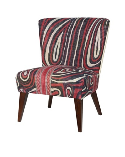 Kantha Arm Chair, Red/Black Multi