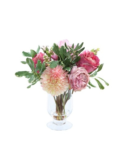Garden Flowers in Glass Vase, Pink, 14