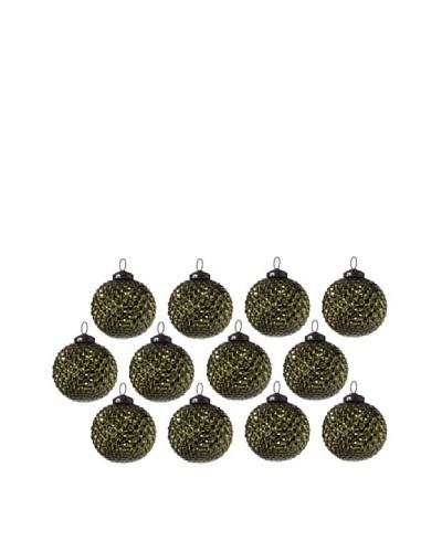 Set of 12 Diamond Design Glass Ball Ornaments, Olive Green
