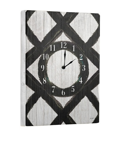 Black White Reclaimed Wood Clock