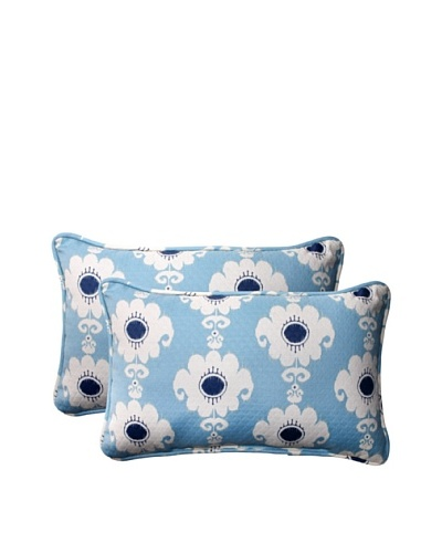 Set of 2 Outdoor Rise-n-Shine Pool Rectangle Corded Toss Pillows [Navy/Aqua/Cream]