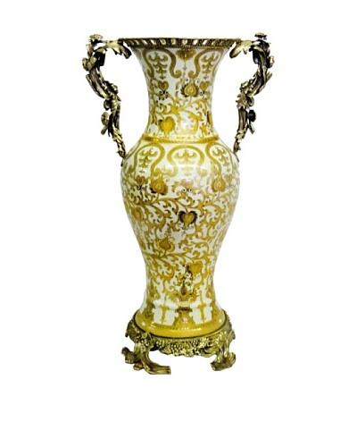 Cream & Gold Scrolls Tall Ormolu Vase