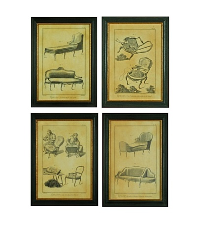 Set of 4 Framed Reproduction Chic French Lithographs