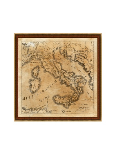 Heritage Italy Map Framed Giclée Print