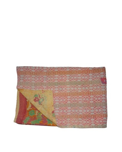 Large Vintage Aakaanksha Kantha Throw, Multi, 60 x 90