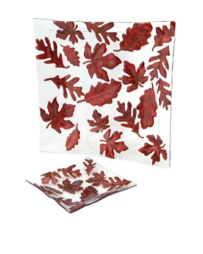 Melrose Set of 2 Maple Leaf Plates, Dark Brown