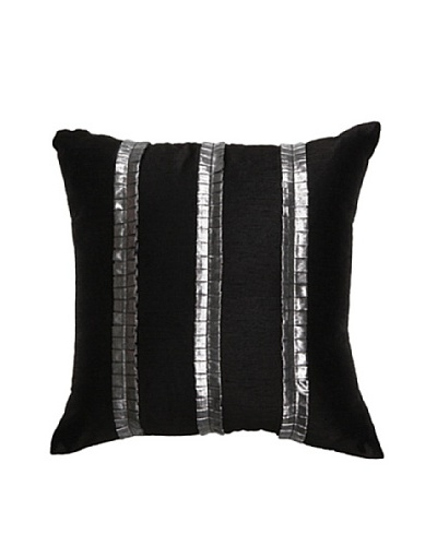 Pleat Pillow, Black/Silver, 18 x 18