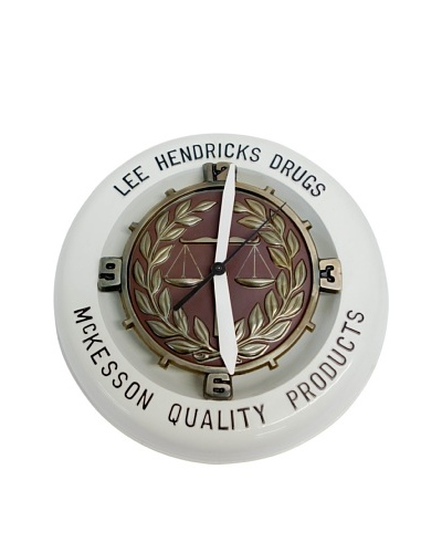 """Lee Hendricks Drugs"" Drug Store Clock c1950s, White/Brown, 18"" diameter"