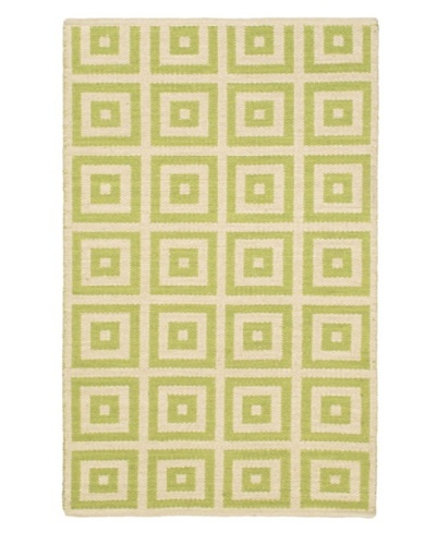 Hand Woven Natural Plush Kilim, Cream/Light Green, 3' 7 x 5' 5