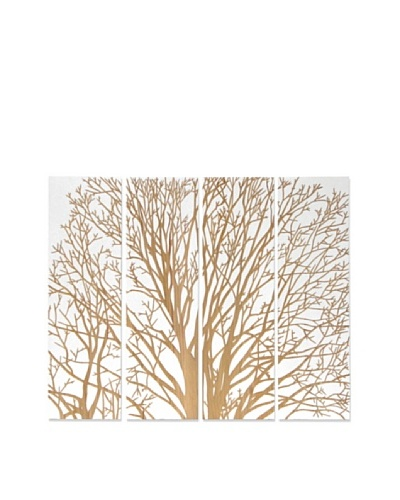 Set of 4 Spring Tree Wall Décor, White