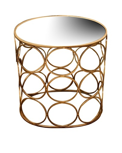 Iron Circle Accent Table, Antique Gold